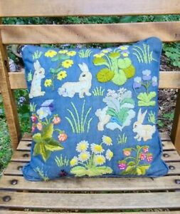 Vintage Embroidered Rabbit Throw Pillow 13quot; x 13quot; Garden Strawberries Flowers
