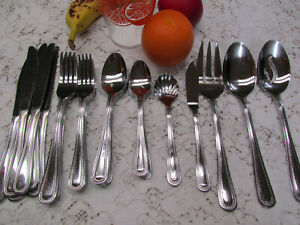 40 Pc Quality Partial Set Stainless Everyday Flatware Serving Spoon Fork Knife