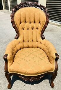Antique Victorian Wing back Chair with Solid Cherry Wood Trim Just Reupholstered
