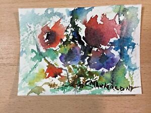 "ORIGINAL WATERCOLOR 2.5""x3.5"". ACEO FLORAL BY: CHARLES ANDERSON $4.50"