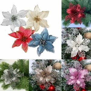 6 12PCS Poinsettia Christmas Flower Tree Hanging Ornaments Festival Xmas Decor