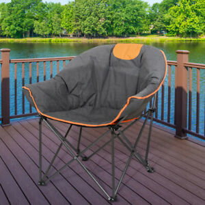 Oversized Camping Chairs Padded Moon Round Chairs Folding Hiking Fishing Chairs