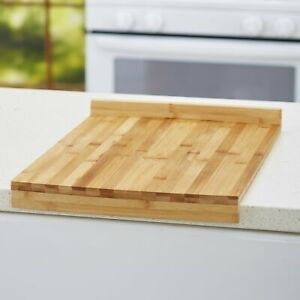 Stay Put Kitchen Cutting Board with Raised Edge Bamboo Wood