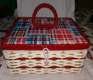 Vintage Singer Sewing Basket plaid fabric top red white blue with insert Japan $34.99