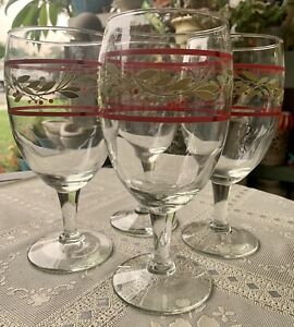 Christmas Wine Glasses Goblets Set Of 4 Mistletoe Ribbon Wreath RARE