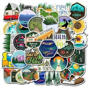 50 Pcs Outdoor Adventure Camping Travel Stickers Suitcase Stickers #NA wang