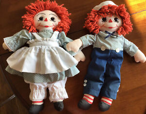 """Raggedy Ann amp; Andy Hand Made 18"""" Dolls In Good Condition $15.00"""