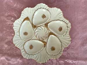 Antique Victorian Cream amp; Gold Weimar Oyster Plate Pearl Border $50.00