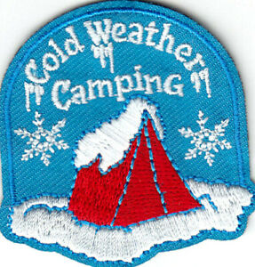 COLD WEATHER CAMPING Iron On Patch Scouts Girl Boy Cub Camping