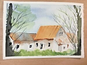 "ORIGINAL WATERCOLOR 5""x7"" LANDSCAPE HOUSE. BY: CHARLES ANDERSON $4.50"