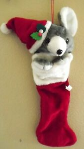 Mouse Gray amp; White Plush Red and White Christmas Stocking $18.85