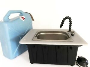 Deluxe Compact Sink Camping Kitchen Tailgate. Foot Pump. Pre Assembled