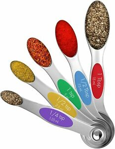 Vremi The Clique Magnetic Stainless Steel Metal Measuring Spoons Set of 5 NEW