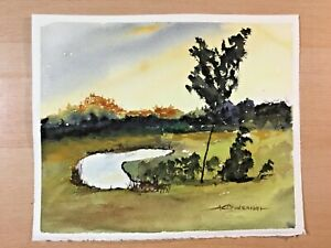 "ORIGINAL WATERCOLOR 8""x10"" LANDSCAPE SMALL POND CHARLES ANDERSON $7.00"