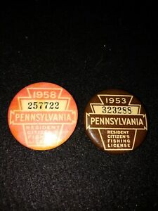 ANTIQUE PA FISHING LICENSE PINS 1953 AND 1958