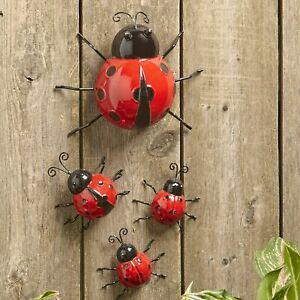 Metal Ladybug Garden Decorations with Red and Black Spots Set of 4 $12.98