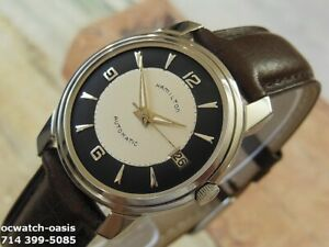 1960#x27;s Vintage HAMILTON AUTOMATIC Stunning Black amp; Silver Dial Serviced $495.00