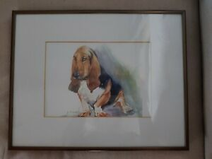 Basset Hound Lovers Delight  Framed original watercolor signed by the artist. $39.97