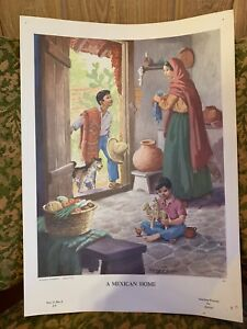 """Vintage Art Print Teaching Picture Lithograph """"A Mexican Home"""" 17x12.25 $20.00"""