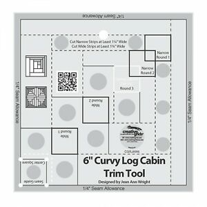 Creative Grids Curvy Log Cabin Trim Tool 6quot; Finished Blocks Quilt Ruler $20.99