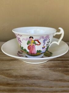 """Staffordshire pink luster amp; enamel painting soft paste """"Temperance"""" cup amp; saucer"""