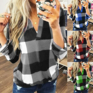 Women Casual Long Sleeve Plaid Check T Shirt Ladies V Neck Top Basic Tee Blouse