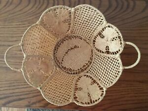 Finely Woven Grass Over Wire Intricate Lacy Style Design Vintage Antique Basket $24.88