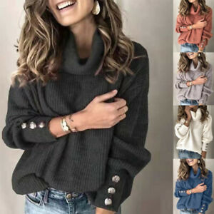Women Knit Long Sleeve Pullover Solid Sweater Jumper Turtleneck Casual Warm Tops $16.99