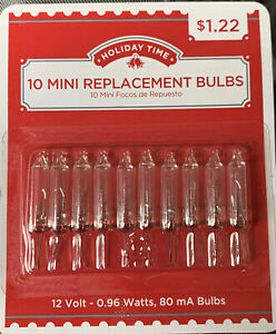 Holiday Time 1 Pack of 10 Mini Replacement Bulbs Clear 12V Volts $7.88