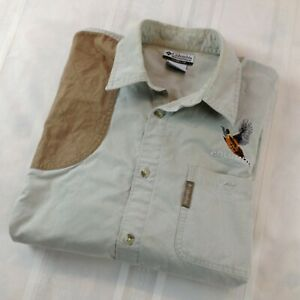 COLUMBIA HUNTING Full Button Long Sleeve Embroidered Shooting Shirt Men#x27;s Size L