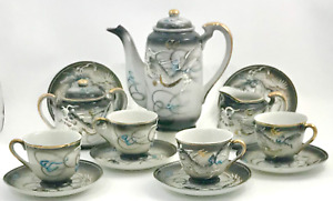 Japanese Porcelain Satsuma Tea Set Dragon Motif