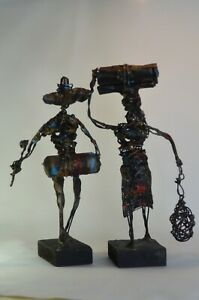 Pair of Metal and Wood Sculptures by Brutalist Yon Serraty Approx. 7quot; Tall $89.00