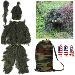 Ghillie Suit Youth Adults Tactical Camo Camouflage Hunting Woodland Jungle Wood