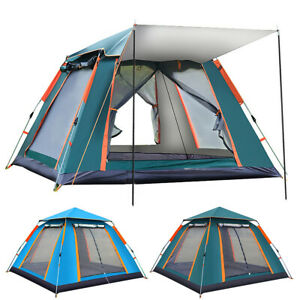 Camping Tent Silver Coated Waterproof Pop Up Tent Advanced Venting 5 6 People
