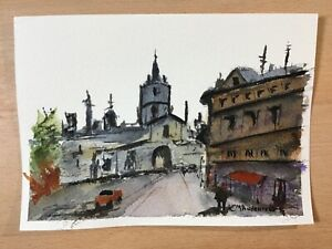 "ORIGINAL WATERCOLOR 5""x7"" LANDSCAPE. CITY SCENE BY: CHARLES ANDERSON $4.75"