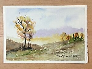 "ORIGINAL WATERCOLOR 5""x7"" LANDSCAPE. FALL SCENE BY: CHARLES ANDERSON $4.75"