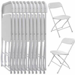 10 PC Commercial Wedding Quality Stackable Plastic Folding Chairs White $39.99