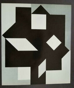 Victor Vasarely quot;Larissa IIquot; Mounted b w Offset Lithograph 1971 $49.00