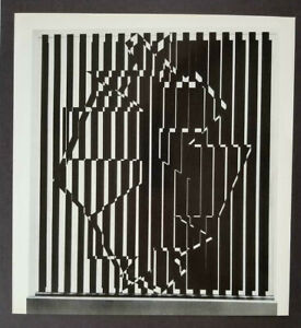 Victor Vasarely quot;Ujjainquot; Mounted b w Offset Lithograph 1971 $49.00