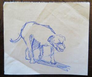 Drawing Sketch Antique On Back of A Bill Exchange Figure Dog Solitaire P28.5 $16.48
