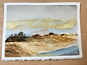 "ORIGINAL WATERCOLOR 5""x7"" LANDSCAPE. SAND DUNES@ OCEAN BY: CHARLES ANDERSON $4.75"