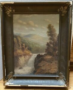 Antique Signed Richard Day De Ribcowsky Oil on Canvas Landscape Painting $475.00