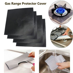 4x Reusable Gas Hob Protector Non Stick Oven Liner Stovetop Burner Liner Cover ❤ $5.25