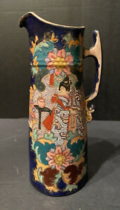 Antique Japanese Meiji Period Satsuma Water Saki Pitcher Colorful