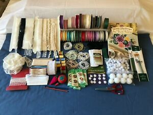 Lot of Craft Sewing Items Lace Ribbons Beads $27.00