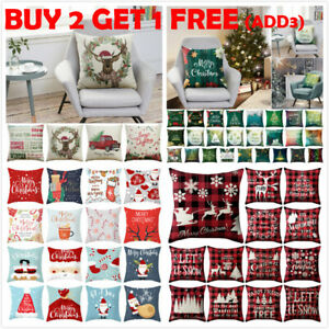 18quot; Christmas Xmas Cushion Cover Pillow Case Cotton Linen Home Sofa Throw Decor. $5.29