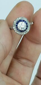 Antique Estate Platinum Rose Cut Diamond Sapphire Engagement Ring .70ct Center