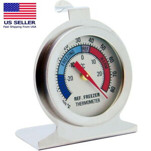 Refrigerator Freezer Thermometer Fridge DIAL Type Stainless Steel Hanging Stand $6.99