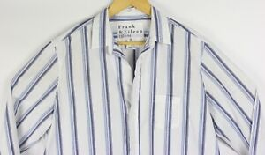 Frank Eileen Cotton Shirt Medium Striped White Blue Long Sleeve Lightweight $32.96
