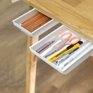 Hot Under Table Storage Boxes Drawer Organiser Desk Drawer Self adhesive $9.08